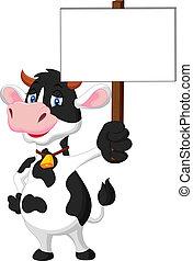 segurando, sinal, caricatura, vaca, em branco