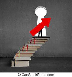 segurando, tampe cima, sinal, livros, seta, pilha, homem