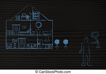 segurando, tecla casa, novo, frente, sobredimensinado, homem