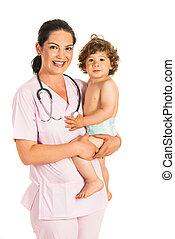 segurando, toddler, doutor, feliz, menino