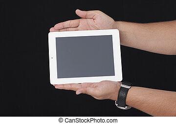 segurando, um, branca, tablete digital, com, bots, mãos, a, experiência preta