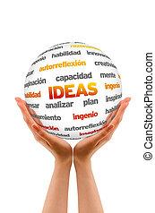 segurando, um, idéias, esfera, (in, spanish)