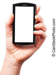 segurando, um, modernos, tela toque, telefone