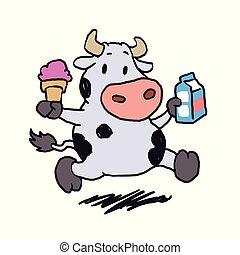 segurando, vaca leite, creme, gelo, executando