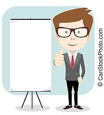 segurando, vetorial, homem negócios, board., em branco, caricatura, mensagem, ilustração
