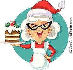 segurando, vetorial, natal, vovó, bolo, ilustração