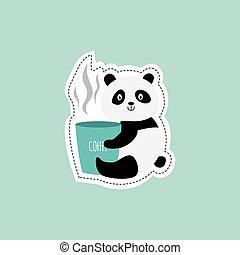 segurando, vetorial, panda, isolated., ilustração, engraçado, copo, bebida, apartamento, café, urso