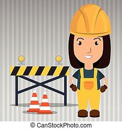 seguridad, advertencia, trabajador, herramienta