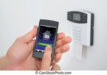 seguridad, alarma, telclado numérico, con, persona, arming,...