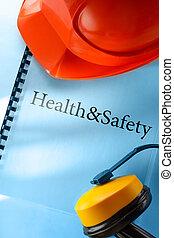seguridad, audífonos, y, rojo, casco