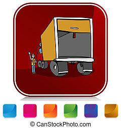 seguridad, botón, conjunto, inspección, camión