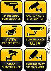 seguridad cámara del juez, conjunto, señal