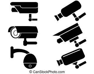 seguridad cámara del juez, conjunto, vigilancia, iconos