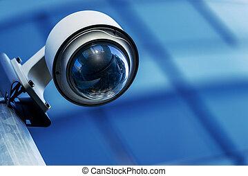 seguridad cámara del juez, y, urbano, vídeo