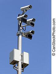 Seguridad, camaras, aislado, vigilancia