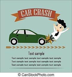 seguridad camino, hombre, sobre, a, ser, golpe, por, un, coche, vector, ilustración