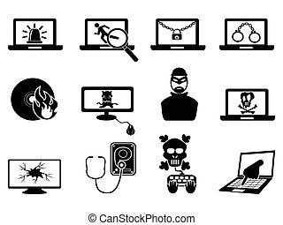 seguridad, computadora, thift, cyber, iconos
