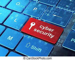 seguridad, concept:, ordenador teclado, con, icono clave, y, palabra, cyber, seguridad, en, entrar, botón, plano de fondo, 3d, render