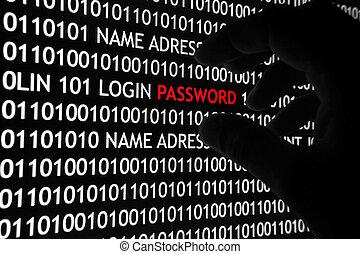 seguridad, concepto, computadora