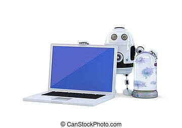 Seguridad, concepto, computadora,  robot, computador portatil