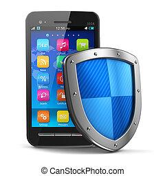 seguridad, concepto, protección, antivirus, móvil