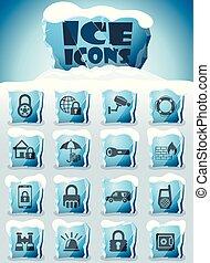 seguridad, conjunto, icono