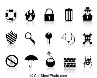 seguridad, conjunto, negro, icono