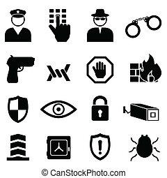 seguridad, conjunto, seguridad, icono