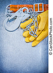 seguridad, construcción, cuerpo, cinturón, cuero, guantes protectores, en, scrat