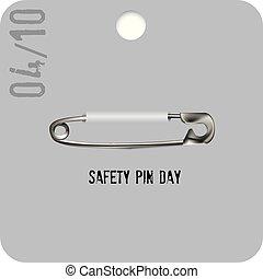 seguridad, día, alfiler