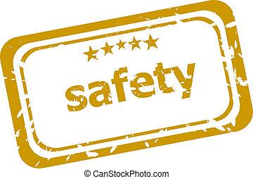 seguridad, estampilla, aislado, blanco, plano de fondo