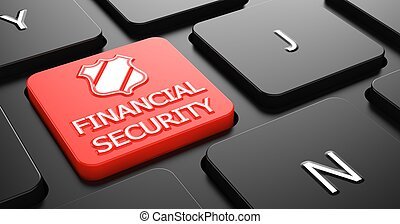 seguridad financiera, concepto, en, rojo, teclado, button.