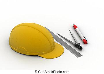 seguridad, herramientas, dibujo, arquitectónico, sombrero