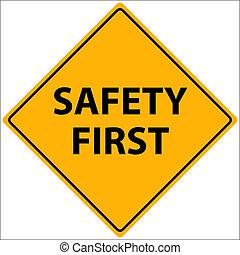 seguridad, ilustración, primero
