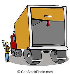seguridad, inspección, camión