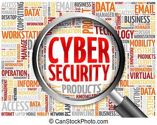 seguridad, palabra, cyber, nube