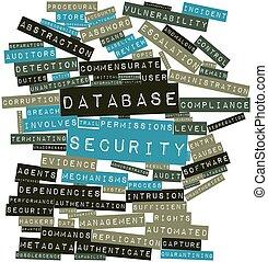 Seguridad, palabra, nube, base de datos