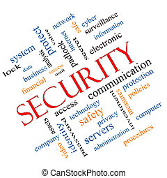 seguridad, palabra, nube, concepto, angular