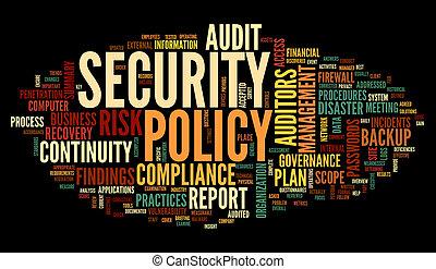 seguridad, palabra, política, nube, etiqueta