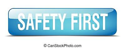 seguridad primero, cuadrado azul, 3d, realista, aislado, tela, botón