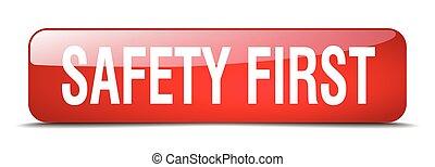 seguridad primero, cuadrado rojo, 3d, realista, aislado, tela, botón