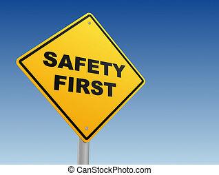 seguridad primero, muestra del camino, concepto, 3d, ilustración