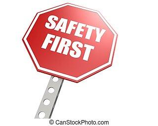 seguridad primero, muestra del camino, en, rojo