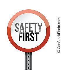 seguridad primero, muestra del camino, ilustración, diseño