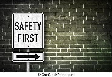 seguridad primero, -, muestra del camino, ilustración