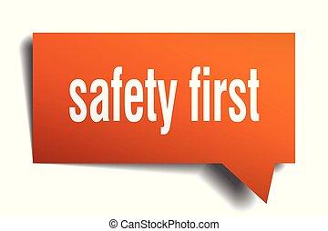 seguridad primero, naranja, 3d, burbuja del discurso