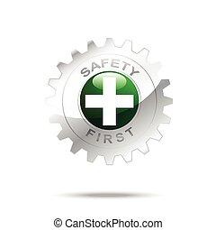 seguridad primero, símbolo, en, engranaje, icono