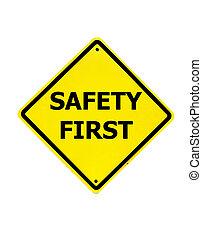seguridad primero, señal, en, un, fondo blanco
