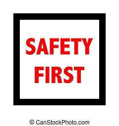 seguridad primero, signo., vector