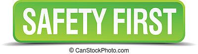 seguridad primero, verde, 3d, realista, cuadrado, aislado, botón